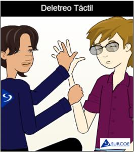 Imágen de dos personas una sordociega y otra su Guía-intérprete, haciendo el deletreo táctil
