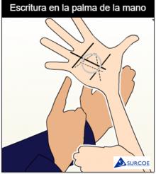 Imágen ampliada de solo las mano haciendo la escritura en la palma de la mano.