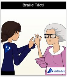 Imágen de dos personas, una sordociega y una guía-interprete haciendo Braille táctil