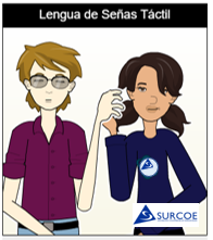 Imágen de dos personas: una persona sordociega, otra su Guía-Intérprete, haciendo la Lengua de Señas Táctil, usando una sola mano