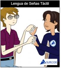 Imágen de dos personas, una sordociega y otra su Guía-Intérprete haciendo la Lengua de señas táctil con las dos manos