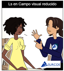 Imágen de dos personas una sordociega y otra su Guía-intérprete haciendo la Ls en campo visual reducido