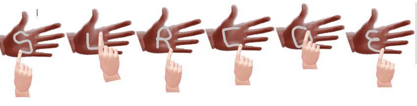 """Imágen escribiendo """"SURCOE"""" en la forma que se usa de la palma de la mano"""