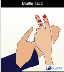 Imágen ampliafa que de solo enfoca las manos haciendo Braille táctil