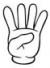 Mano con dedo indice, medio, anular y meñique levanados (numero 4 en LSC)