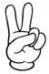Mano con dedo indice y medio levantados (números 2 en LSC)